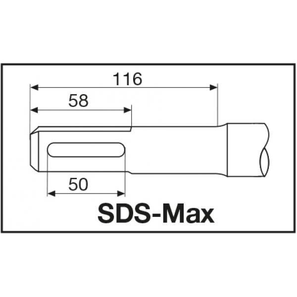 Бур Milwaukee SDS-Max с 4-мя режущими кромками 40 X 370 мм
